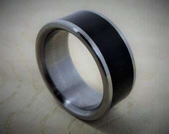 Titanium Ring - Titanium Wood Ring - Black Ring - Wedding Ring - Wood Ring - Ebony Ring - Mens Ring - Womens Ring - Handmade Ring