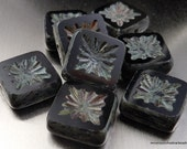 Czech Glass Beads 10mm Square Beads Jet Black Picasso - 8  (G - 573)