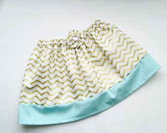 Boutique Girls skirt---in gold chevron-and aqua- glitter collection- girls clothing