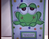 Froggy Get Well Handmade Greeting Card
