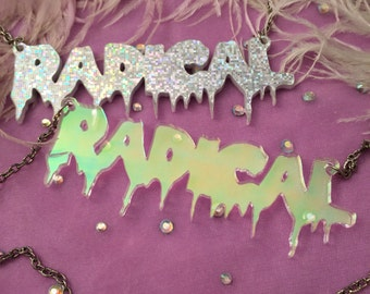 RADICAL Acrylic Necklace in Silver Sparkle or Radiant