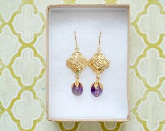Purple Amethyst and Golden Brass Dangle Earrings