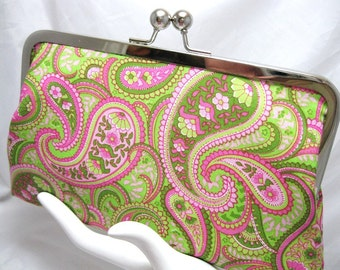 Coupon Organizer Purse PInk LIme Paisley
