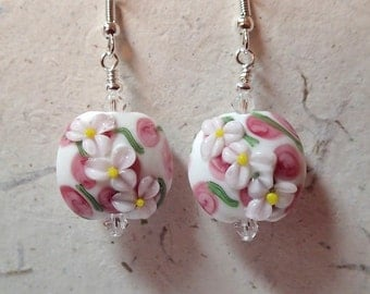 White and Pink Lampwork Floral Glass Bead Lentil Earrings silver