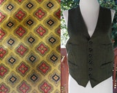 Peaky Blinders 1910's 20's Vintage Dark Olive Green Button Down Suit Vest with 4 Pockets // size Medium