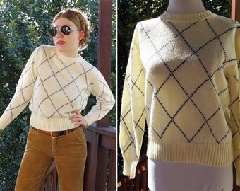 TOMBOY 1970's 80's Vintage Cream White Acrylic Sweater with Navy Blue Grid // size Medium
