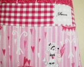 Pink Poodle Print Laundry Bag Cute Retro Travel Washing Bag Handmade in Five All Cotton Prints Including Hearts Polka Dots And Gingham