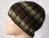 Ribbed beanie hat, olive, forest green, rust, brown, striped hat, men's hat, women's hat, toque, biker hiker cap, ski, snowboard, skateboard