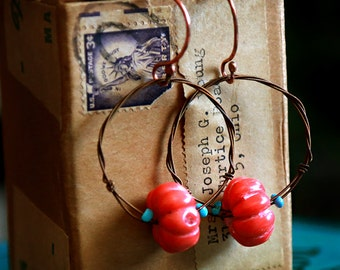 Strung-Out mandolin string bronze hoop earrings with coral and turquoise