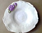 Ceramic Shallow Bowl with purple rose OFF WHITE
