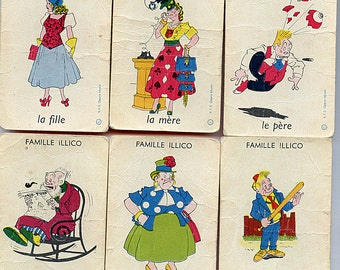 FRENCH Game Cards Set of (6) Vintage MAGGIE and JIGGS Famille Illico Game Cartoon Comic Book Characters Great Graphics 9579