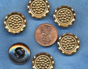 BLACK with GOLD  Set of  (15)  glass buttons WHOLESALE  Vintage  luster 3/4 inch size 7811  MoRE AvAILABLE