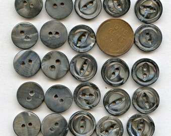 Smokey Mother of Pearl Buttons Matching Set of (24) Vintage Shell 9/16 inch size MORE AVAILABLE 1178
