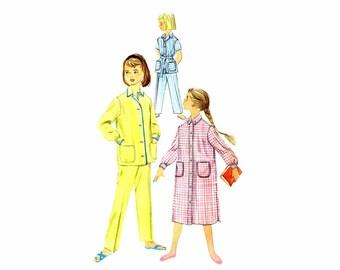 1950s Girls Pajamas Nightshirt Tops Bottoms Pants Simplicity 2253 Vintage Sewing Pattern Size 8 UNCUT