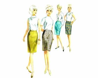 1960s Misses Slim Skirt Butterick 3882 Vintage Sewing Pattern Pencil Skirt Waist 24 Hip 33