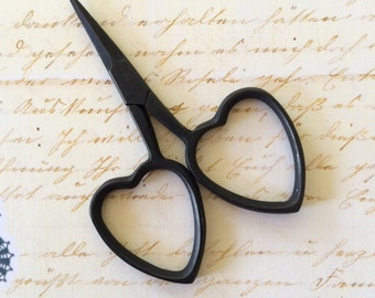 small matte black embroidery scissors for cross stitch cutting tool with heart shaped handles little love
