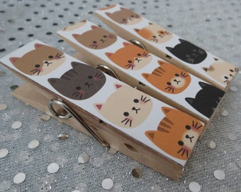 Magnets - Set of 3 - Clothespin Clips - Here Kitty Kitty Meow Meow Heads