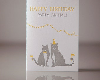 Letterpress Party Animal Cats Birthday Card