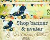 Hipster Bird and Flowers modern style Etsy Shop Banner and Avatar by Sea Dream Studio  one of a kind