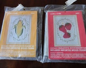 Vintage Coats & Clark Crewel Embroidery Stitchery Kits Strawberries and Corn on the Cob with Wood Frame NIP