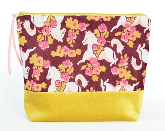 Patchwork Pony Pouch in Vintage Velvet | Make-up/Cosmetic/Project Bag | Floral Horse with Golden Mustard
