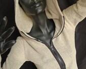 Sale! Cream Sweater Fleece Zip Hoodie - Unique, Womenswear, Zipper Hoodie, Long Hoodie