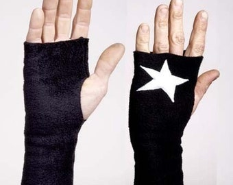 Black Fleece Handwarmers with Applique White Stars - Small or Large