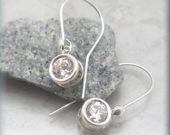 Cubic Zirconia Earrings, CZ Earrings, Faux Diamond Jewelry, Dangle Earrings, Drop, Sterling Silver, Wedding Jewelry, Bridal Earrings (SE997)