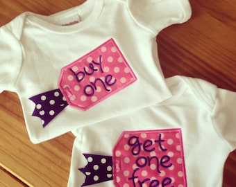 Buy One Get One Free Appliqued Baby Bodysuits