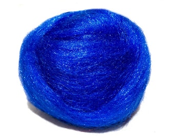 Blue Firestar, Needle Felting, Spinning Fiber, roving, blue, bright blue .5 oz, similar to Icicle Top