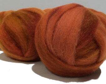 orange, Pumpkin wool roving, hand dyed Felting Spinning Fiber,  free samples, burnt yellow orange rust cinnamon auburn carrot olive green