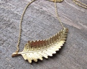 Gold Leaf Necklace Frond Fern Vintage Minimalist Charm Simple Pendant