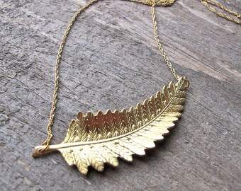 Gold Leaf Necklace -  Simple Pendant Necklace - Leaf Necklace - Fern Leaf Necklace - Rustic Nature Jewelry