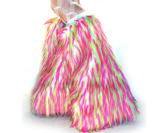 Monster Fluffies, Fur Leg Warmers Hot Pink, Lime, White Fuzzy Boot Covers