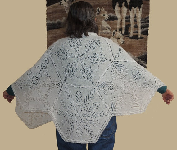 Snowflake Cape Pdf Lace knitting pattern from CrazyLaceLady on Etsy Studio