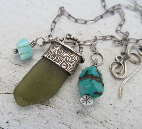 Silver Beach Glass Charm Necklace Sterling Silver Pendant Turquoise Sea Green Sea Glass summer necklace