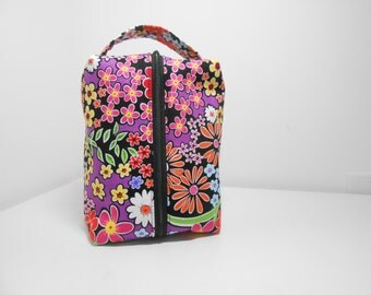Dopp Kit or Cosmetic Pouch, Multi Color Floral Cosmetics Bag, Black Accessory Case