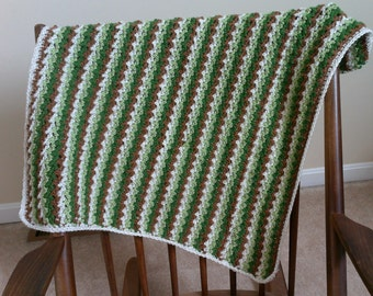 Baby Blanket Green, Brown and Tan Ready to Ship