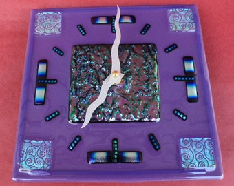 Purple Square with Wavy Arms Art Glass Wall Clock
