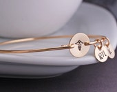 Gift for Nurse, Caduceus Bracelet, RN Jewelry Gift, Personalized Nurse Bangle Bracelet