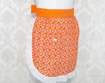 Orange Half Apron  Orange Floral Cotton Apron Handmade Orange Floral Apron Orange Pink Half Apron
