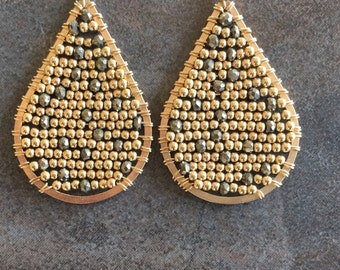 Gold and Pyrite teardrop earrings wire wrapped