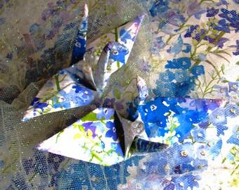 Delphinium Peace Crane Bird, Wedding Cake Topper, Party Favor Origami Christmas Ornament Japanese Paper Anniversary  Place Card Holder Decor