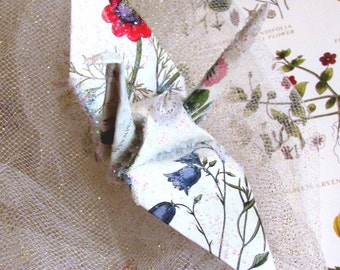 Botanical Wildflower Peace Crane Bird Wedding Cake Topper Party Favor Origami Christmas Ornament Paper Anniversary Place Card Holder Decor