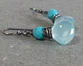 Blue Chalcedony Earrings Turquoise Earrings Wire Wrapped Earrings Oxidized Sterling Silver Earrings