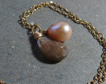 Moonstone Pendant Necklace Peach Pearl Wire Wrapped Gold Necklace