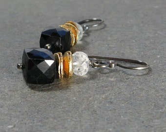 Black Spinel Earrings Moonstone Earrings Mixed Metal Oxidized Sterling Silver Geometric Jewelry Black and White