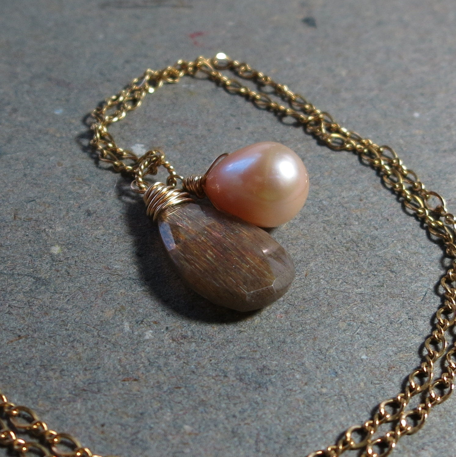Moonstone Pendant Necklace Peach Pearl Wire Wrapped Gold