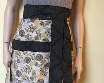 SALE Womens Waist Apron Black & Yellow, Gray Paisley Women's Reversible