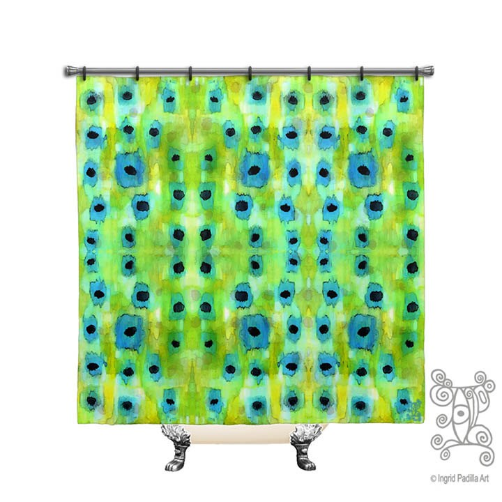 Bluegrass Shower Curtain Blue And Green Shower Curtain Boho